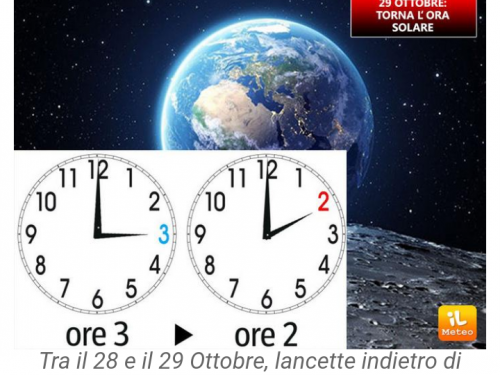 ORA SOLARE: il 29 Ottobre lancette indietro!